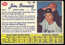 1962 POST BASEBALL CANADIAN #26 JIM BUNNING DETROIT TIGERS EX+ cond CARD