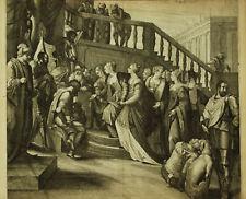 INCORONAZIONE ESTER Veronese Esther Crowned Q. Boel - Incisione Originale 1600