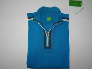 HUGO BOSS Zenir Gr. M Pullover Sweater Green Label Zipper Türkis Athleisure
