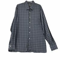 Canali Mens size 2XL Gray Blue Plaid Button Up Long Sleeve Cotton Dress Shirt