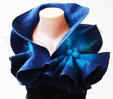 Felted Wool Scarf Collar. Dark blue & bright blue shibori scarf.