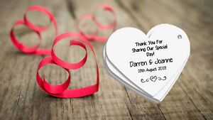 White Elegant Heart Tags for Wedding Favours/Gifts - Personalised! 20/Pk