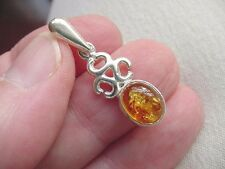 (p18-2) ORANGE AMBER oval + Celtic .925 Sterling SILVER PENDANT Jewelry necklace