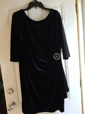 HOLIDAY WEAR**  NWOT - ALEX EVENINGS PETITE Black Stretch Velvet Dress - 16P