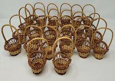 Lot of 26 Small Miniature Oval Wicker Rattan Easter Baskets w/ Handle for Crafts