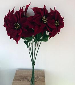 Artificial Poinsettia Stems - Bundle of 6 - Festive Flowers
