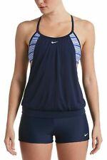 Nike Women's Racerback Layered Sport Swim Tankini Tank Top Midnight Blue L $110