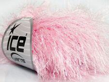 38Yd Baby Pink Extra Long Eyelash Yarn #42077 Ice Luxurious Fun Fur