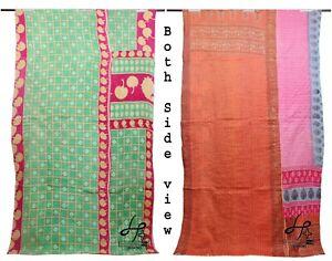 Cotton Kantha Quilt Indian Ralli Single Gudari Recycled Throw Handmade Blanket