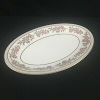 "VTG Oval Serving Platter 12"" by Noritake 5433 Dark Pink and Gray Floral Japan"