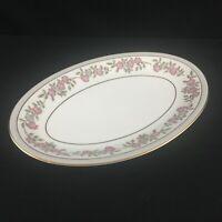 """VTG Oval Serving Platter 12"""" by Noritake 5433 Dark Pink and Gray Floral Japan"""