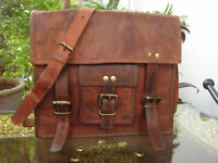 Vintage Leather Men's HandBag Brown Laptop Shoulder Satchel Messenger Bag New