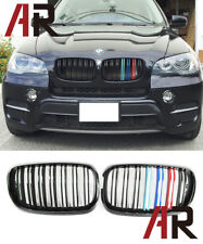 BMW Gloss Black Front M Look Grille W/ Metal M Tri Color For E70 X5 X5M E71 X6