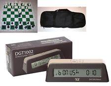 Chess Tournament Pieces Deluxe Bag Digital DGT 1002 Bonus Timer Clock Set NEW