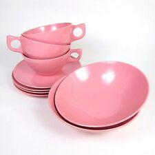 Pink Melmac Bowls Cups Saucers Set of 9 Melmac Brand 50's 60's Atomic Dinnerware