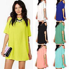 Women Cold Shoulder Chiffon Short Mini Dress Plus Size Casual Baggy Shirt Blouse
