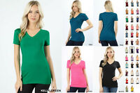 NEW Basic SHORT SLEEVE V NECK T-Shirt Cotton Stretch Long Top Fitted Tunic S-3X