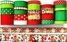 Grosgrain Ribbon 25 Yds Mixed Lot Merry Christmas Grinch Man Snowman Printed. C2