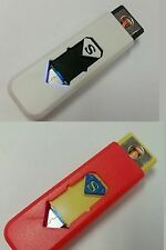 3pcs - USB Electronic Rechargeable Battery Flameless  Lighter - (WHITE-RED)