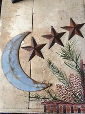 "Set ~ 20"" inch RUSTY GALVANIZED MOON & 3 RUSTY BLACK BARN STARS 8"" inch Rustic"