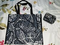 Vera Bradley SQUARE MARKET TOTE and Travel Pill Case in PAISLEY NOIR,NWT
