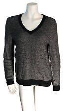 Wallace VNeck Wool Blend Black White Dipdye Sweater - SZ Medium