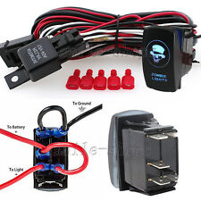 12V On/Off Blue Laser Zombie Light Rocker Switch Kit with Relay Wiring Harness