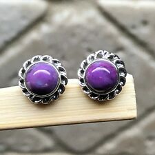 Natural Purple Copper Turquoise 925 Solid Sterling Silver Stud Earrings 9mm