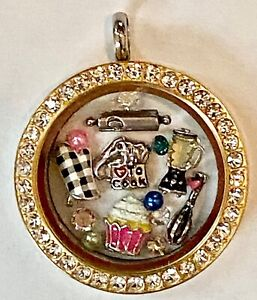 ❤️ORIGAMI OWL ~ I LOVE TO COOK or BAKE 👩🍳 Gold Crystal Locket Charms Chain❤️