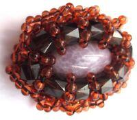 Grande broche bijou vintage couleur or cabochon résine violet pierre perle  2595