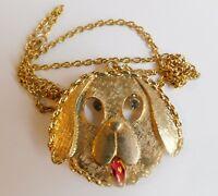 """Vintage Large Chunky Gold Plated Dog Head Rhinestone Eyes Pendant Necklace  24"""""""