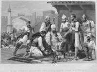 1857 INDIAN REBELLION BRITISH SIKH TROOPS TAKE WAR SPOILS ~ 1860 Print Engraving