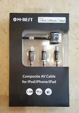 Composite AV Cable to TV RCA Connection Kit  for  iPod iPad 2/3, iPhone 4/4S 3GS