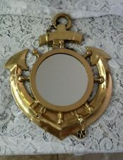 Vintage Heavy Polished Brass Nautical Wall Mirror Anchor Ships Wheel 12x10.5""