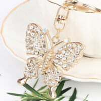 Crystal Butterfly Jewelry Keychain Women Key Holder Chain Ring Car Bag PendanQA