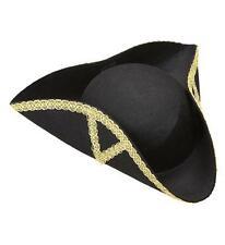 Dreispitz Hut schwarz goldfarbig verziert Pirat Musketier Garde Barock  (518)