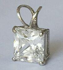 1.00 carat 10k white gold solitaire square  princess cut pendant