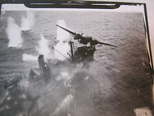 WWII AERIAL RARE PHOTO MILITARY SHIP & AIRCRAFT BATTLE RECONNAISSANCE      T*