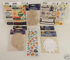 10pk Scrapbooking Lot Fancy Pants/Momenta Stickers, Canvas/Burlap Embellishments