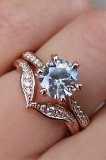 Zirconia Wedding Ring Set Combination 2.5Ct 925 Sterling Silver Aquamarine Cubic