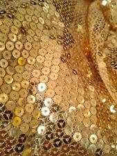 "Doll Fabric 18x22"" Gold Round Sequin Mesh Tulle Stretch Fat Quarter Designer"