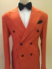 Orange double breasted linen suit with wide peak lapel handmade in Italy