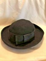 Vintage Women's 100% Wool Black Curved Brim Classic Hat Bow Band