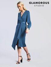 Glamorous Studio Blue Satin Belted Midi Dress - Size: 8