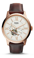 Fossil ME3105 Men's Townsman Brown Leather Partial Skeleton Automatic Watch