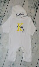 Monogrammed Sleeper Romper and Hat Set size 0-3 Month, Personalized Anchor Baby