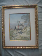 "Dean of Western Artists,CHARLES CRAIG, Watercolor,""Native American on Horseback"""