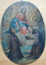 Antike Barocke Votivtafel Hl Franziskus Öl auf Kupfer um 1650, Oberösterreich