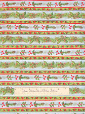 Christmas Holiday Holly Pine Cone Stripe Green Blue - Quilt Fabric Cotton YARD