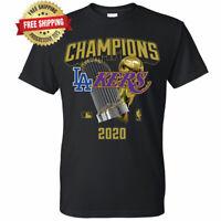 Los Angeles Dodgers Lakers 2020 World Champions Trophies T-Shirt - Black